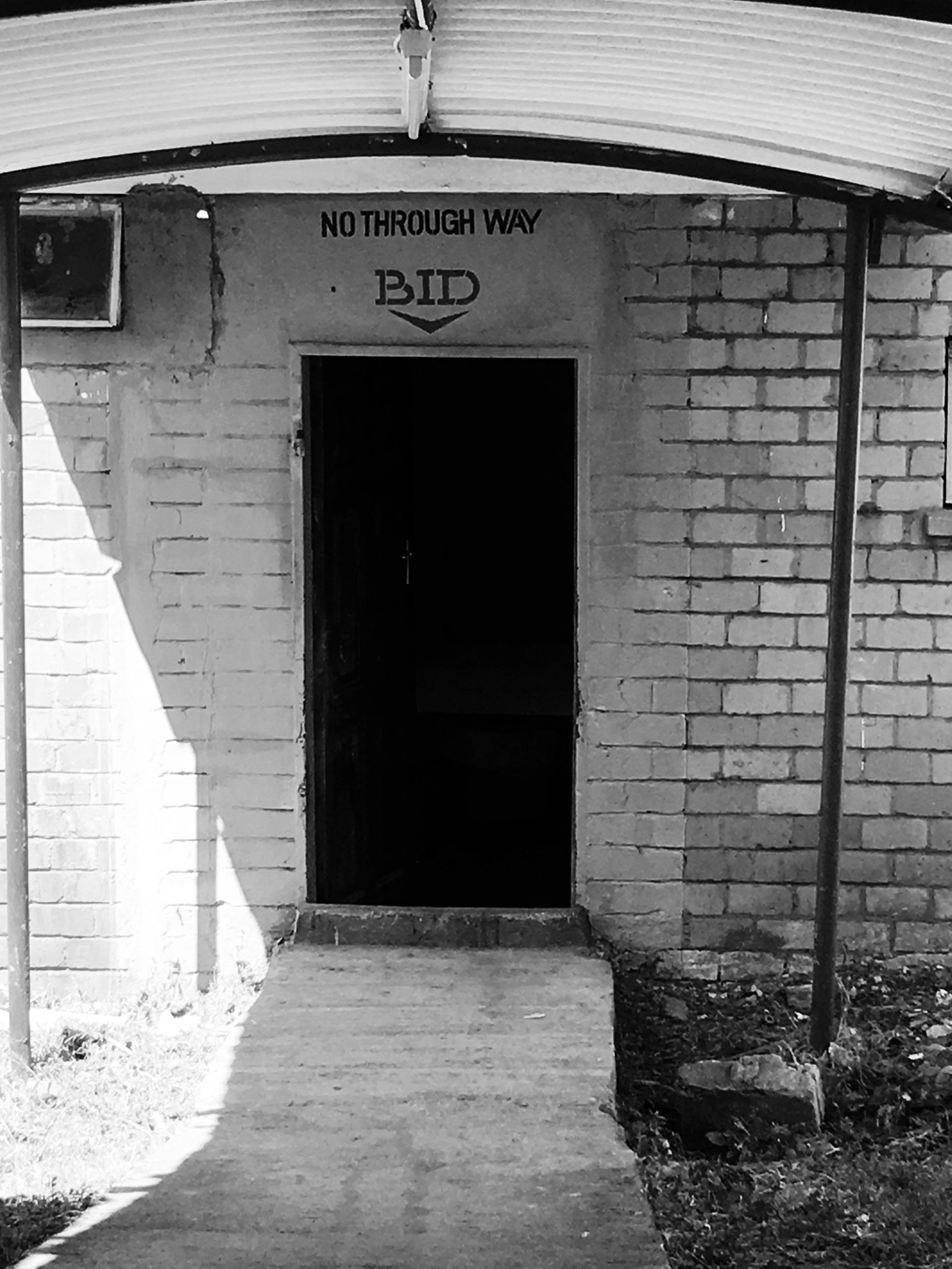 Black and white image showing the entrance of the 'Brought in Dead' wing